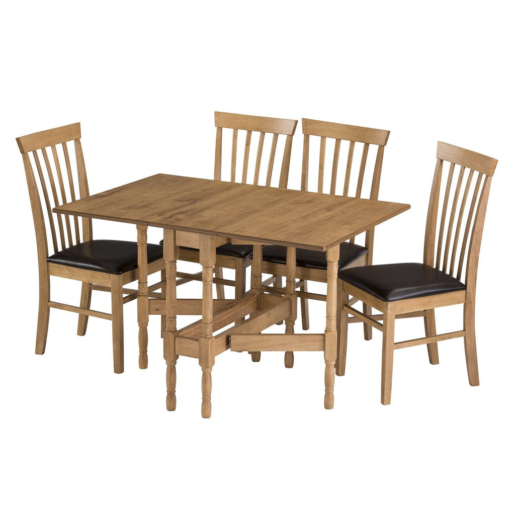 gateleg drop leaf table, fully extended with 4 chairs
