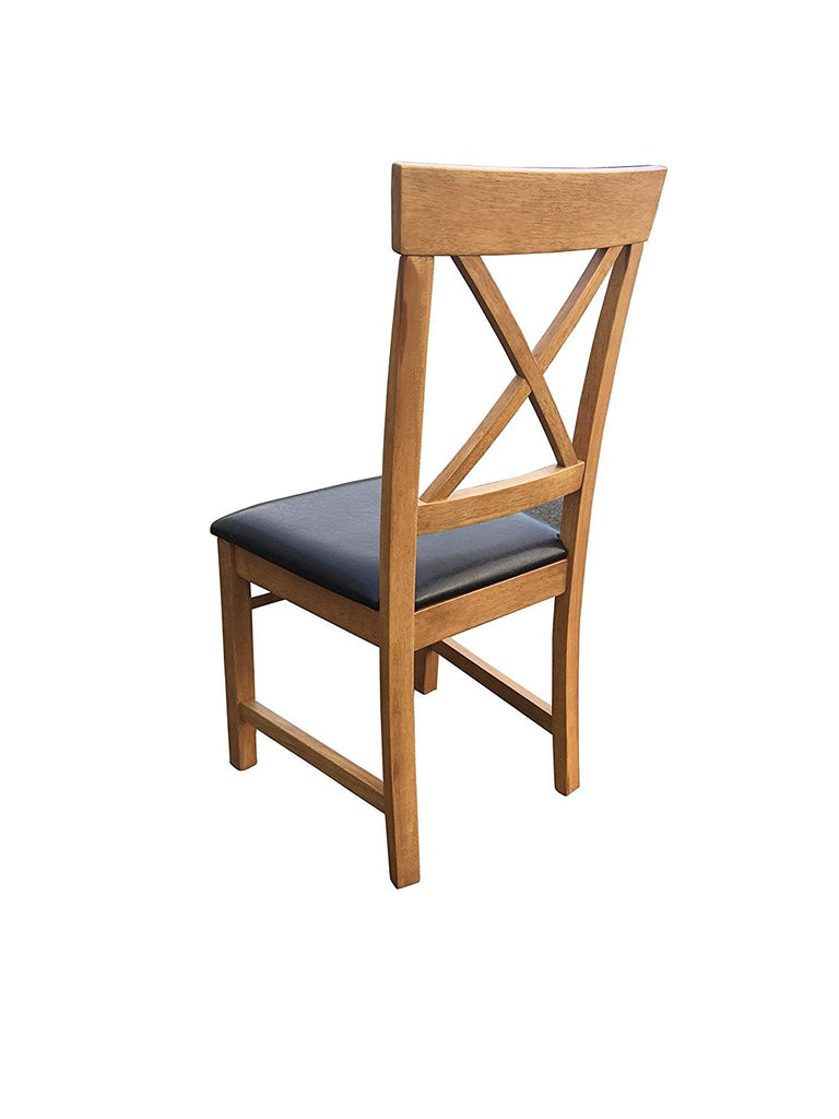 Warm Oak Finish dining chair with cross back and leatherette seat
