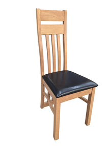 Warm Oak Finish dining chair with leatherette seat
