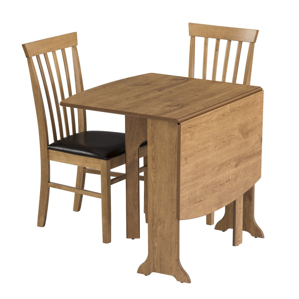d end drop leaf oak table, half extended with two chairs