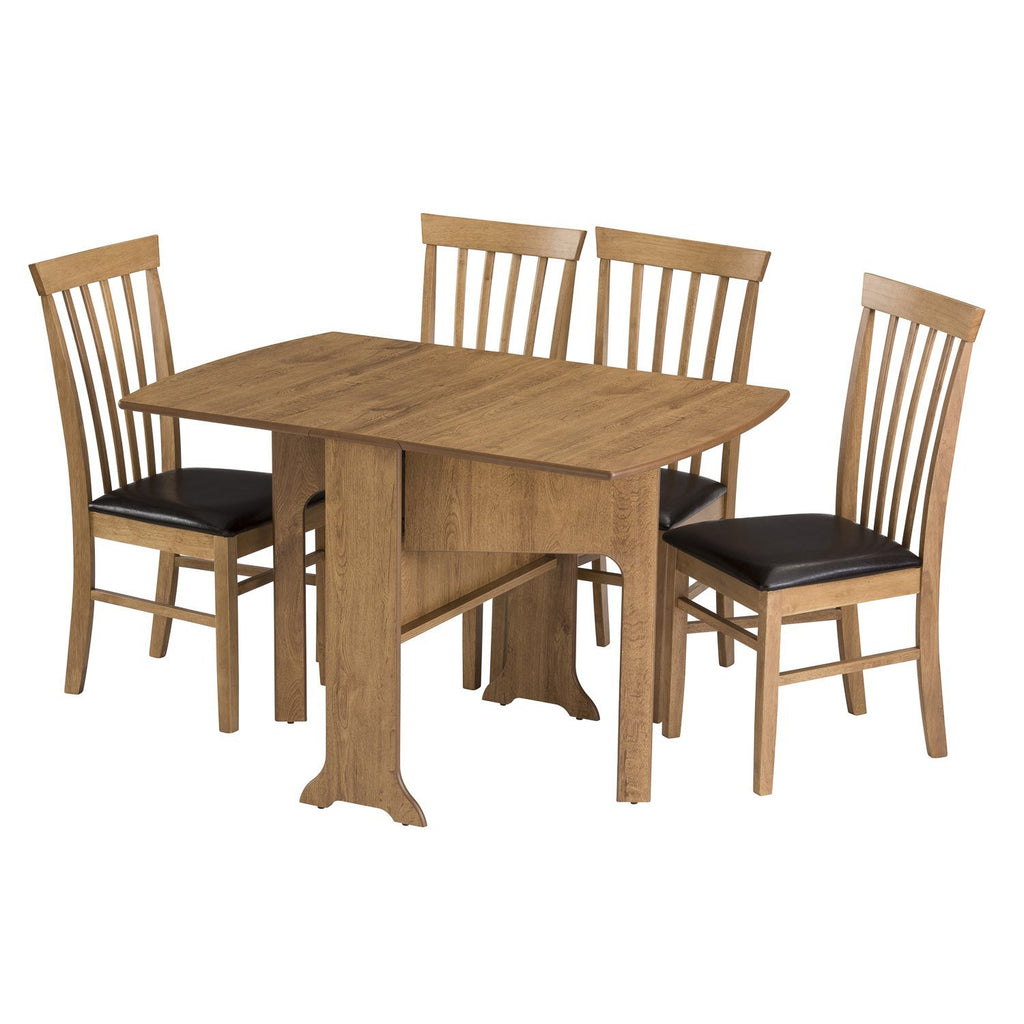 d end drop leaf oak table, fully extended with four chairs