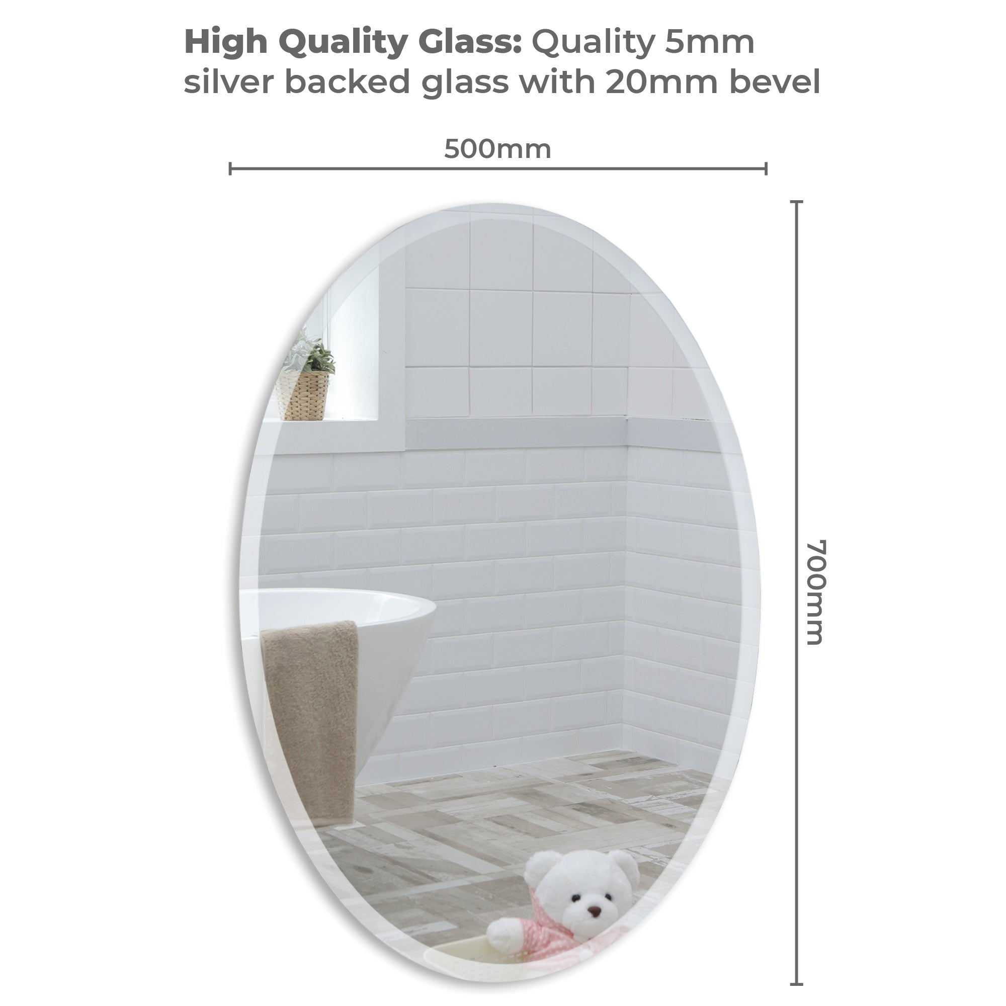 Modern Oval Bathroom Wall Mirror 2 Sizes 50Hx40Wcm and 70Hx50Wcm