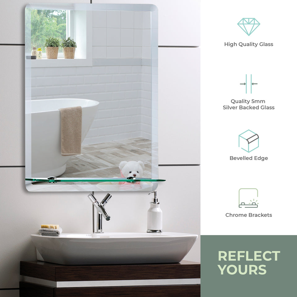 Rectangular Bathroom Wall Mirror with Shelf 3 Sizes: Sizes 50Hx40Wcm and 60Hx45Wcm and 70Hx50Wcm