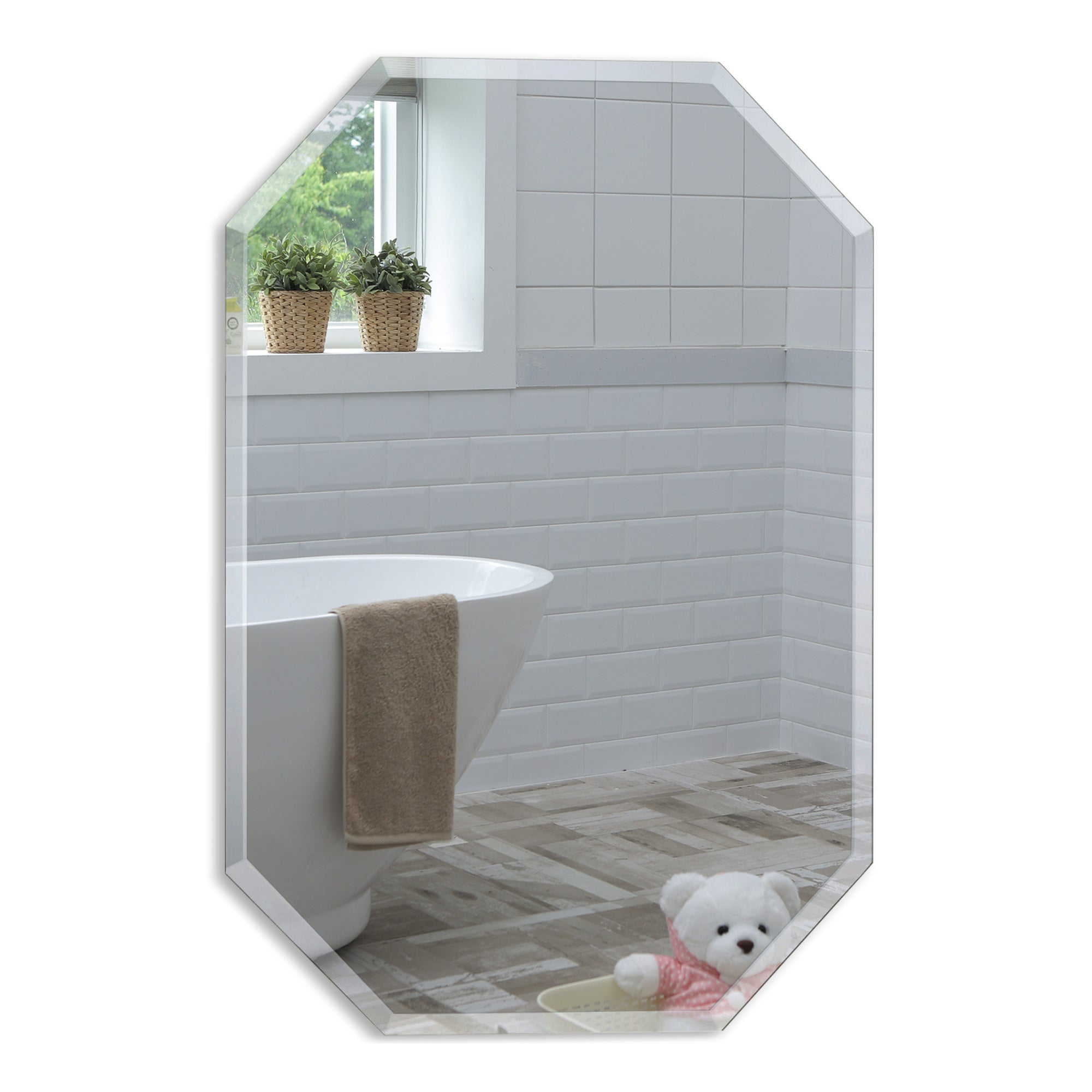 Modern Octagon Bathroom Wall Mirror Two Sizes 70Hx50Wcm & 50Hx40Wcm