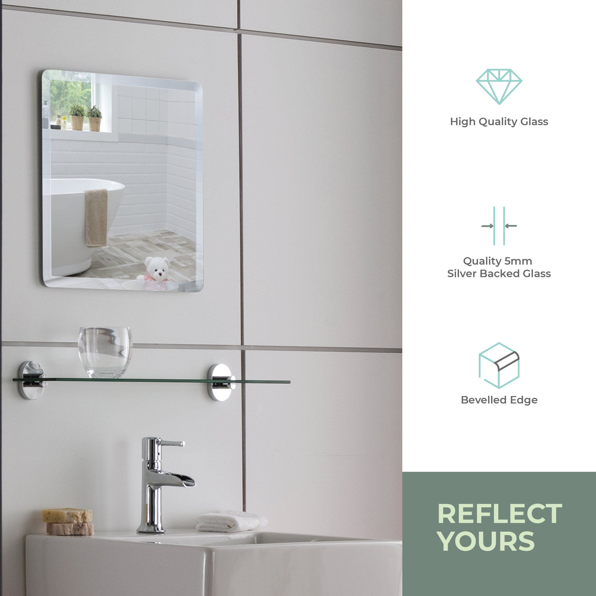 Simple Design Bathroom Wall Mirror ES1030 40 x 40cm Size 40Hx40Wcm