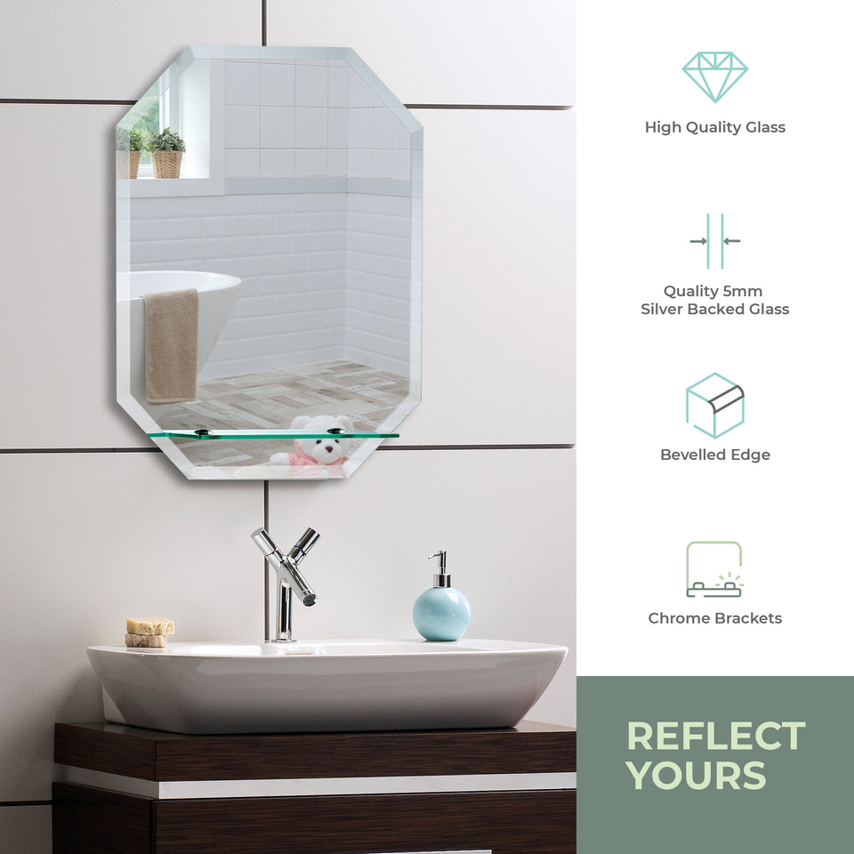Octagonal Bathroom Wall Mirror with Shelf 60Hx45Wcm