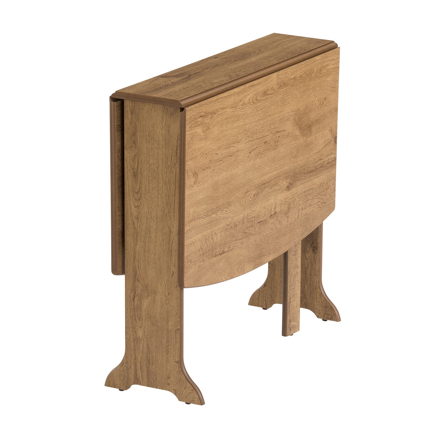 d end drop leaf oak table, folded