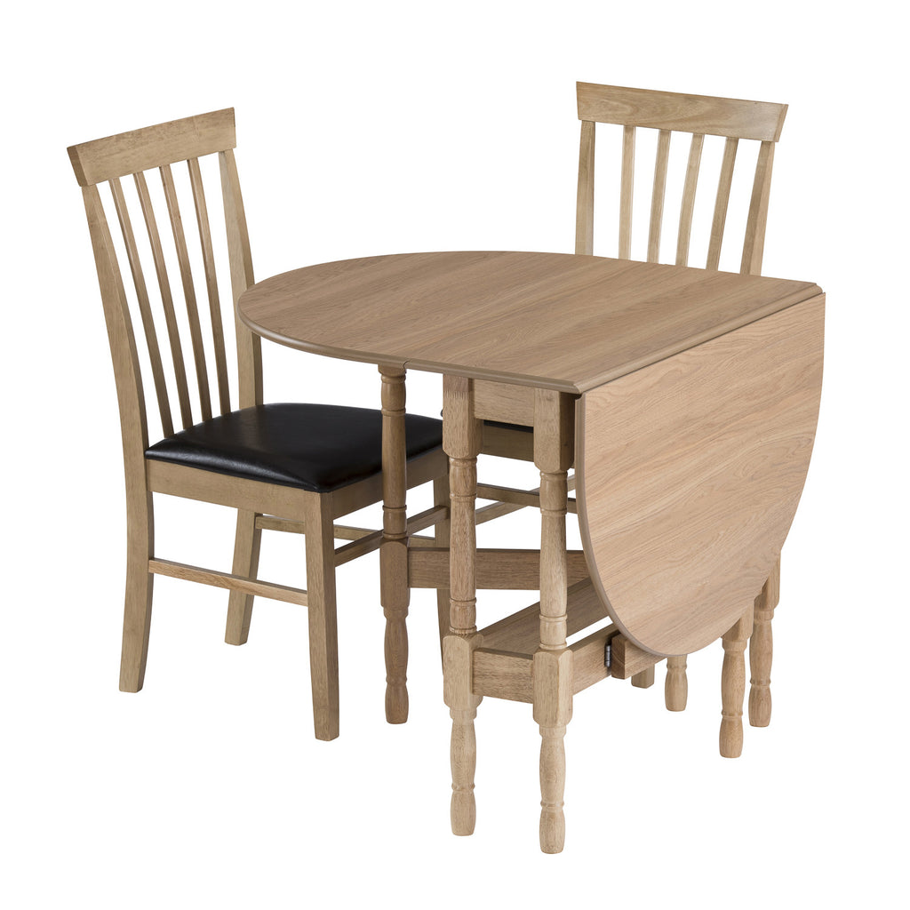 gateleg dining table folded with chairs
