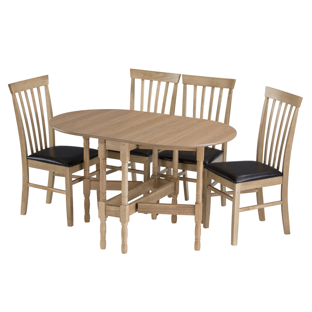 gateleg dining table open with chairs