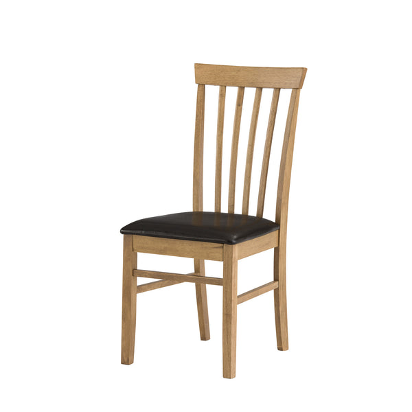 Warm Oak dining chair with leatherette seat
