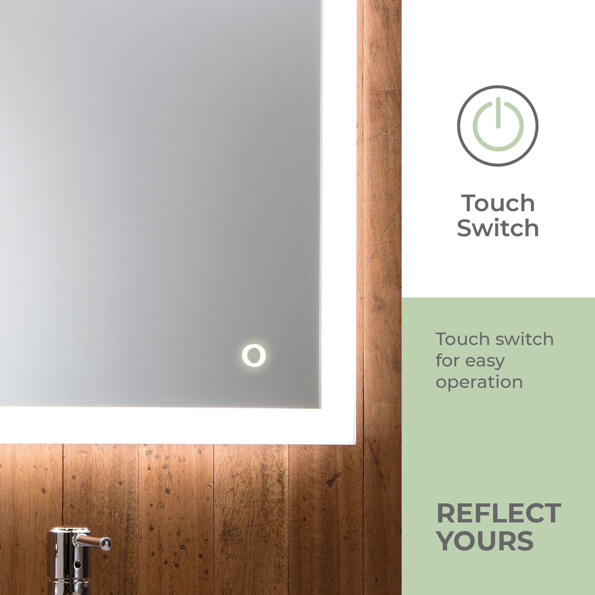 LED Illuminated Bathroom Mirror YJ2538F Size-70HX50WX5.5Dcm
