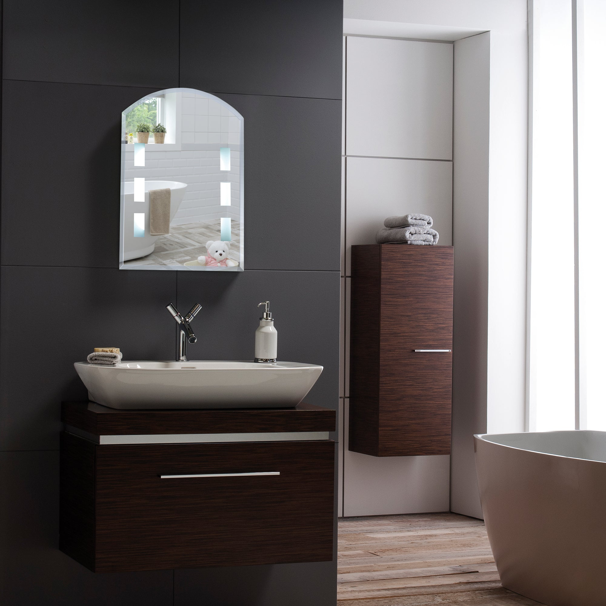 Modern LED Bathroom Wall Mirror YJ5302 Size-60Hx45Wcm