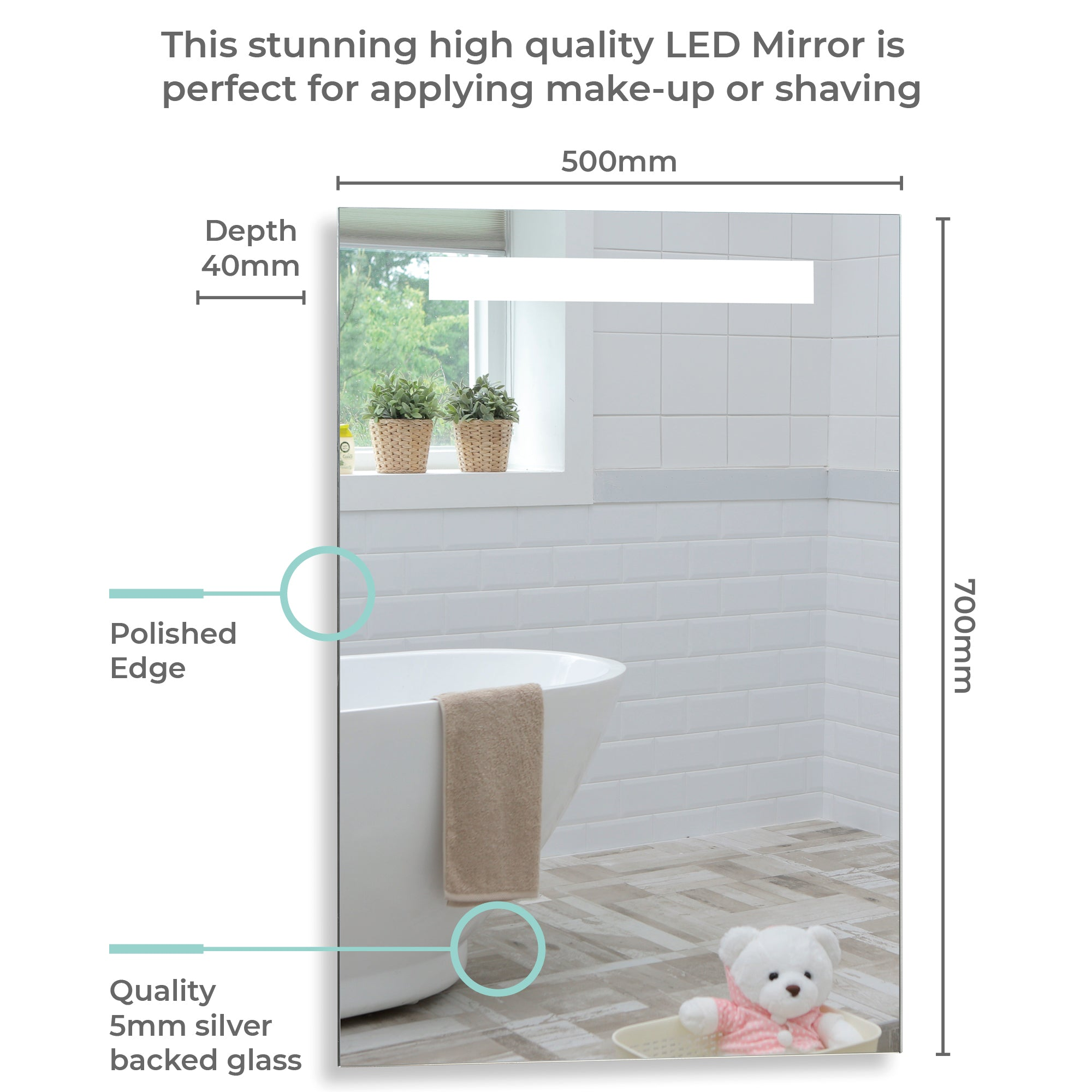LED Illuminated Bathroom Mirror With Lights YJ541 Size-70HX50Wcm