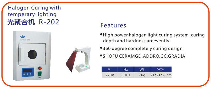 Dental Halogen Curing with Temperary Lighting R-202