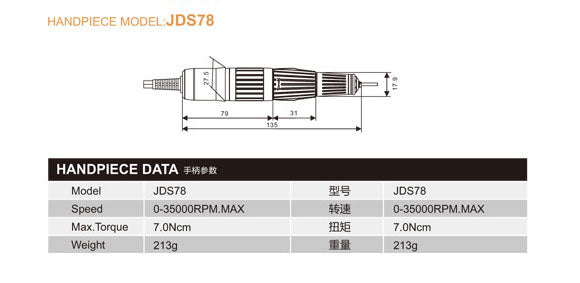 Dental Brushed Electric Motor - JSDA JD5500C