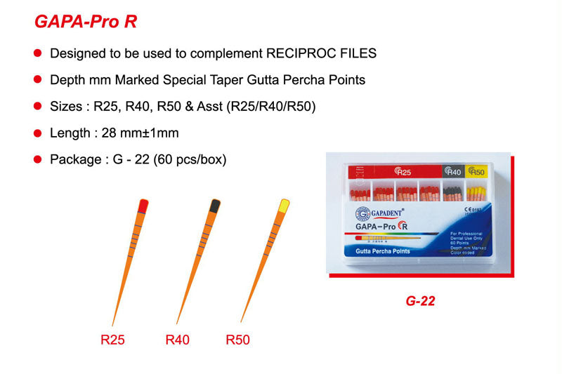 Gapadent® 5*Boxes Dental Endodontics Gutta Percha Points GAPA- PRO. R