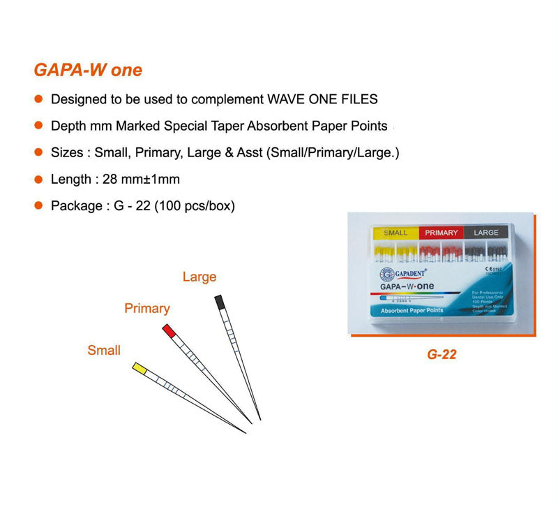 Gapadent® 5*Boxes Dental Endodontics Absorbent Paper Points GAPA- W. ONE
