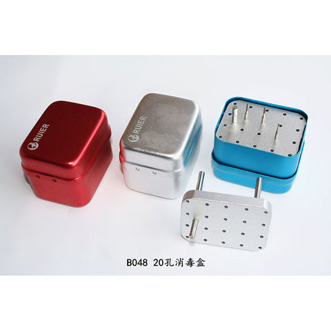 Ruier® B048 Dental Bur Block Autoclave Sterilizer Endo Box 20 Holes