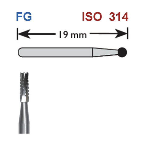 SBT® FG Carbide Burs Straight Flat End Cross-Cut Burs for High Speed Handpiece 5 pcs/box or 10 pcs/box