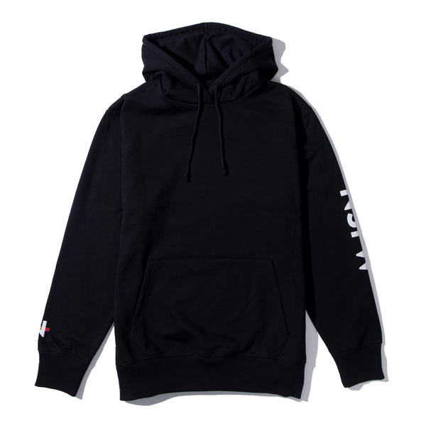 Hooded Fleece - Strikethrough Black - nsfwclothing