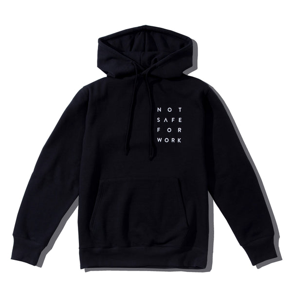 Hooded Fleece - Stacked Black - nsfwclothing