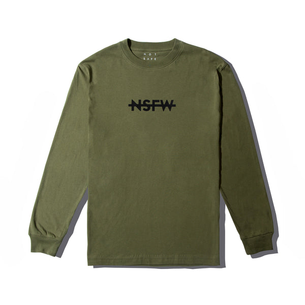 Long Sleeve Tee - Blocked Olive - nsfwclothing
