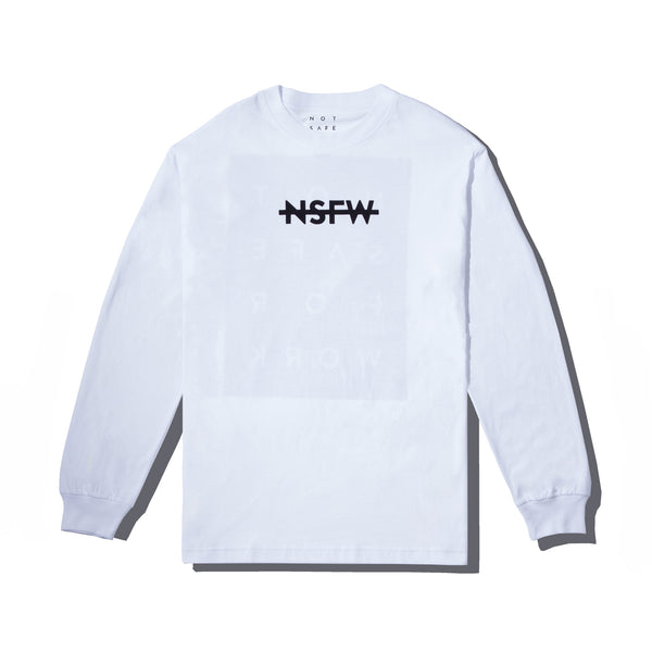 Long Sleeve Tee - Blocked White - nsfwclothing