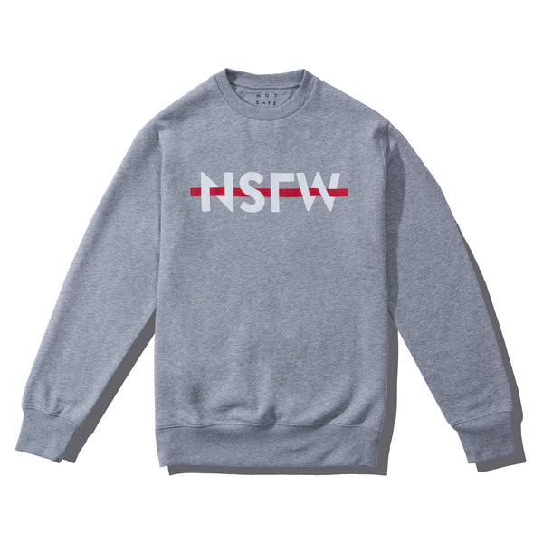 Crewneck Fleece - Strikethrough Gray - nsfwclothing
