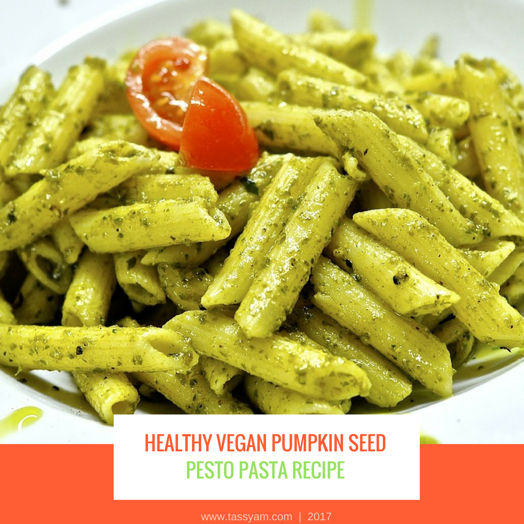 Healthy Vegan Pumpkin Seed Pesto Pasta Recipe