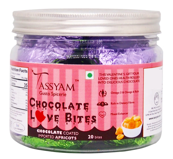 Tassyam Love Bites Chocolate Apricot 20 Pcs | Luxury Hand Made Valentines Special
