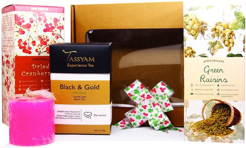 Diwali Candle, Tea & Dry Fruit Gift Box | Tassyam