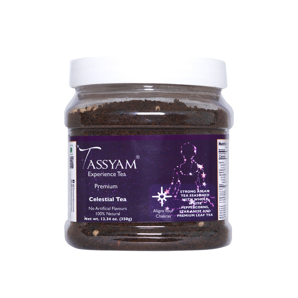 Tassyam Celestial Tea 350g Jar | NEW & IMPROVED | RARE Star Anise & White Pepper + Gold Blend CTC Chai With No Artificial Flavours, Tea, Tassyam - Best Indian Teas
