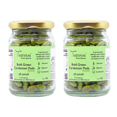 Green Cardamoms - Whole - 100g (2x 50g) Bottle - Spicerie, Spice, Gusto1940 - Best Indian Teas