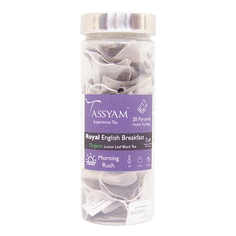 Tassyam Royal English Breakfast Organic- 20 Pyramid Tea Bags, Tea, Tassyam - Best Indian Teas