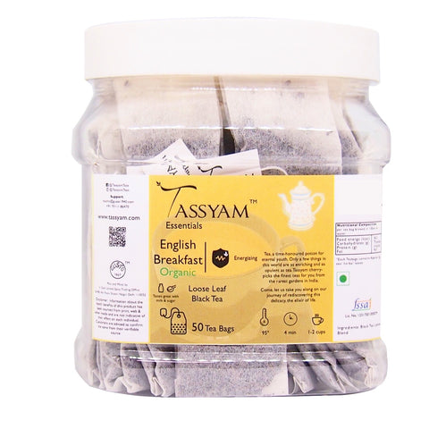 Tassyam English Breakfast Organic | 50 Staple Free Tea Bags