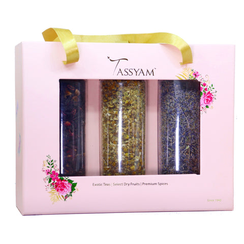 Tassyam Infusions Gift Set 130g | Lavendar Buds, Chamomile Flowers, Hibiscus Petals, Diwali Giftset, Tassyam - Best Indian Teas