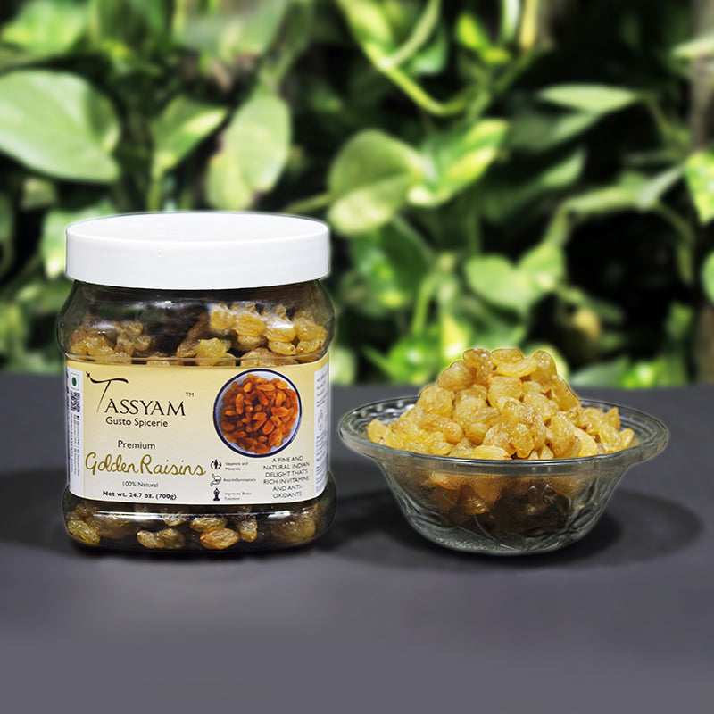 Tassyam Golden Raisins 700g | Healthy Juicy Jumbo Indian Kishmish Jar, Dry Fruit, Gusto Spicerie - Best Indian Teas