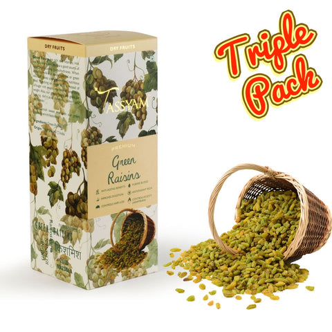 Seedless Afghan Green Raisins - 750g (3x 250g) Boxes | Limited Period Pack, Dry Fruit, Gusto Spicerie - Best Indian Teas