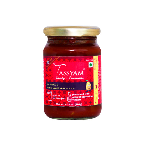 Tassyam VP Rich Hing Mango Pickle 180g Bottle | Earthen Jars, HIngwale Asafoetida, Fresh Mangoes, Teekhi Spices, Spice, Gusto Spicerie - Best Indian Teas