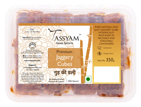 Tassyam Pure Jaggery Cubes 350g Box, Spice, Gusto Spicerie - Best Indian Teas