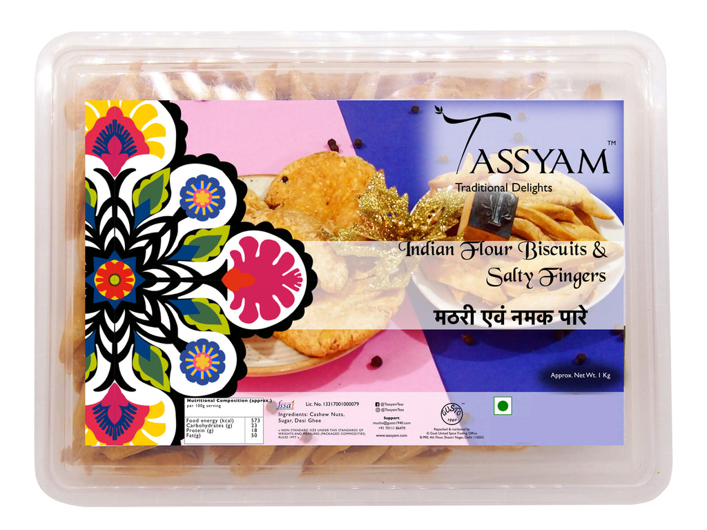 Tassyam Mathri & Namak Paare 500g Premium Box | Flour Biscuits & Salty Fingers, , Tassyam - Best Indian Teas