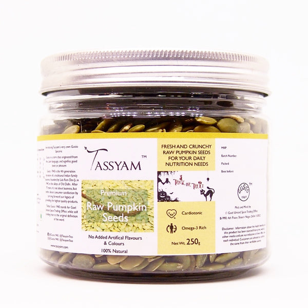 Raw Pumpkin Seeds - 250g  Jar, Dry Fruit, Gusto1940 - Best Indian Teas