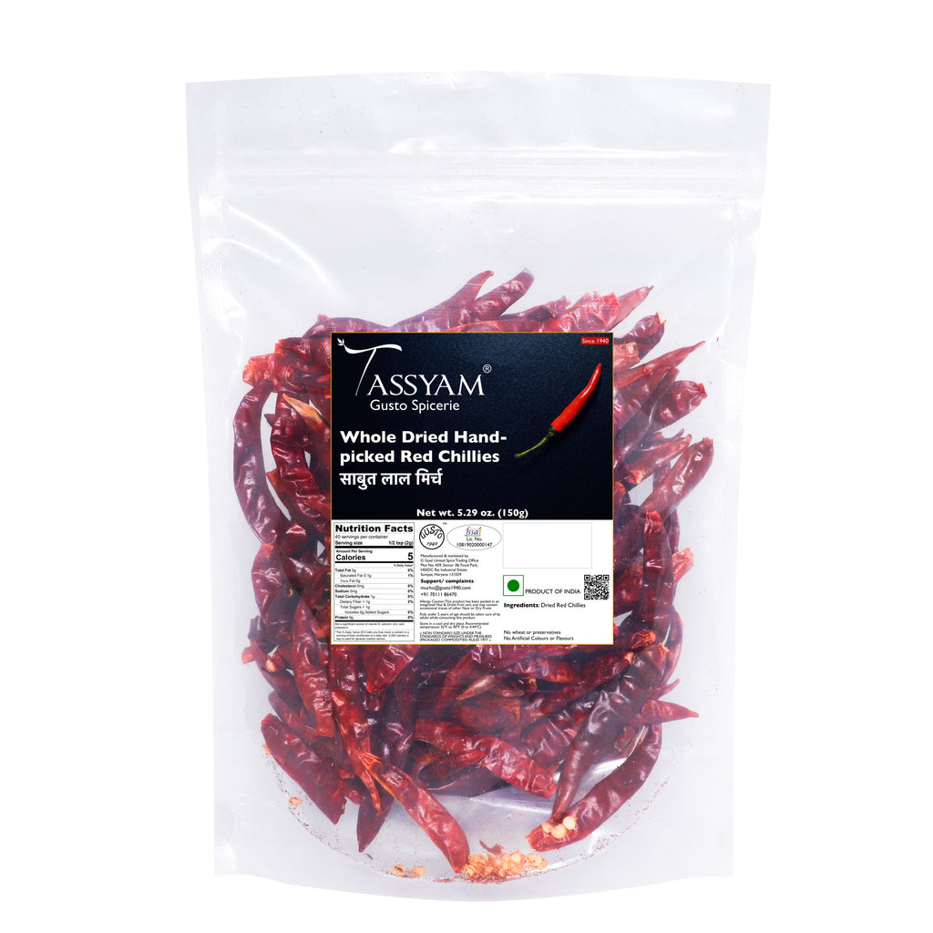 Tassyam Premium Dried Red Chillies 150g | No Added Colours, Spice, Tassyam - Best Indian Teas