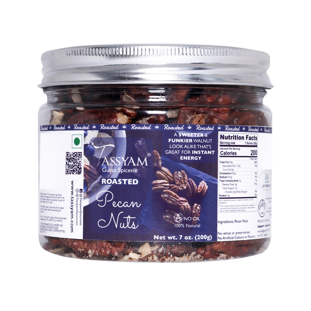 Tassyam Roasted Pecan Nuts 200g | Premium Imported Nuts, Dry Fruit, Tassyam - Best Indian Teas