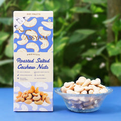 Oil-Free Roasted Salted Cashews - 200g Box, Dry Fruit, Tassyam - Best Indian Teas