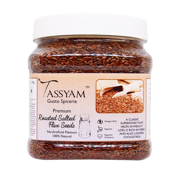 Tassyam Roasted Salted Flax Seed 600g Jar, Dry Fruit, Gusto Spicerie - Best Indian Teas