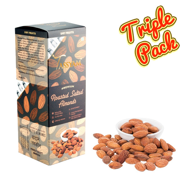 Oil-Free Roasted Salted Almonds - 750g (3x 250g) Boxes | Limited Period Pack