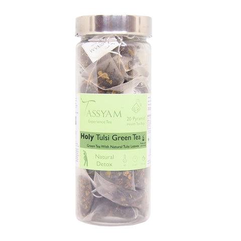 Tassyam Holy Tulsi Green | 20 Pyramid Tea Bags
