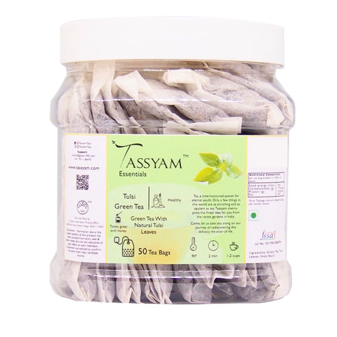 Tassyam Tulsi Green | 50 Staple Free Tea Bags