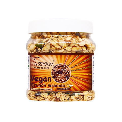 Vegan Crunch Granola with Honey 500g | Oil-Free | Rolled Oats,  Dehydrated & Dried Fruits
